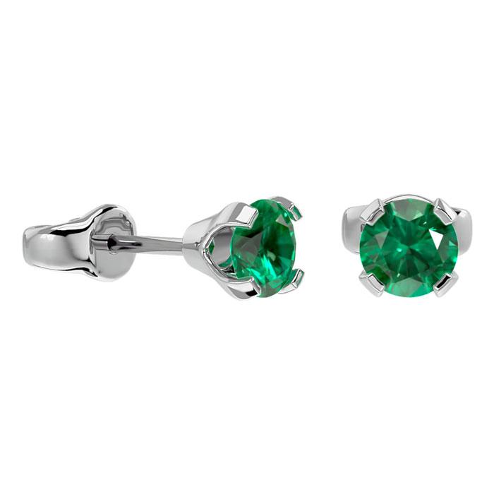 .50ct Emerald Stud Earrings in 14k White Gold