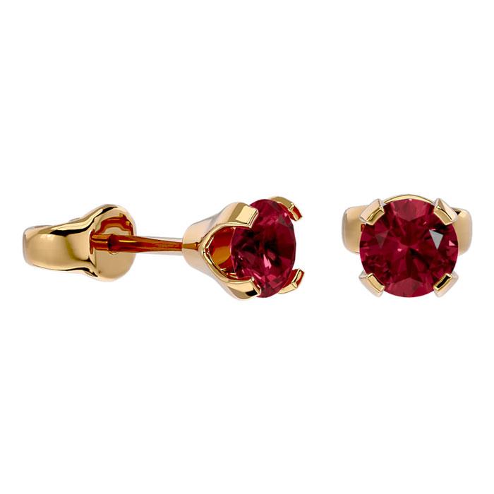 60ct garnet stud earrings in 14k yellow gold