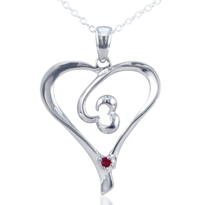 05ct Ruby Heart Pendant in Sterling Silver