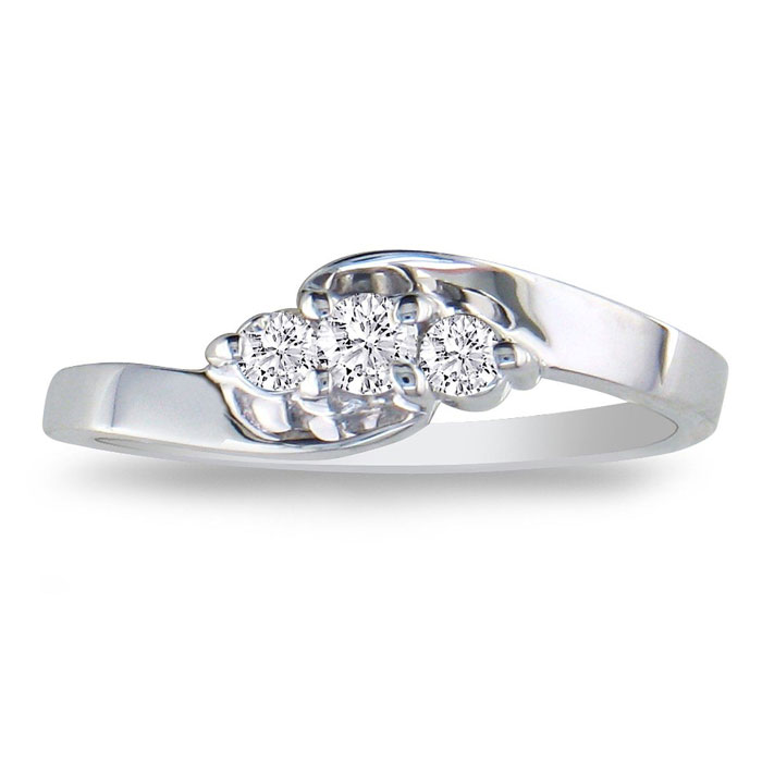 1/10ct Three Diamond Promise Ring in Sterling Silver - Saint Patrick's Day Diamond Jewelry Deals