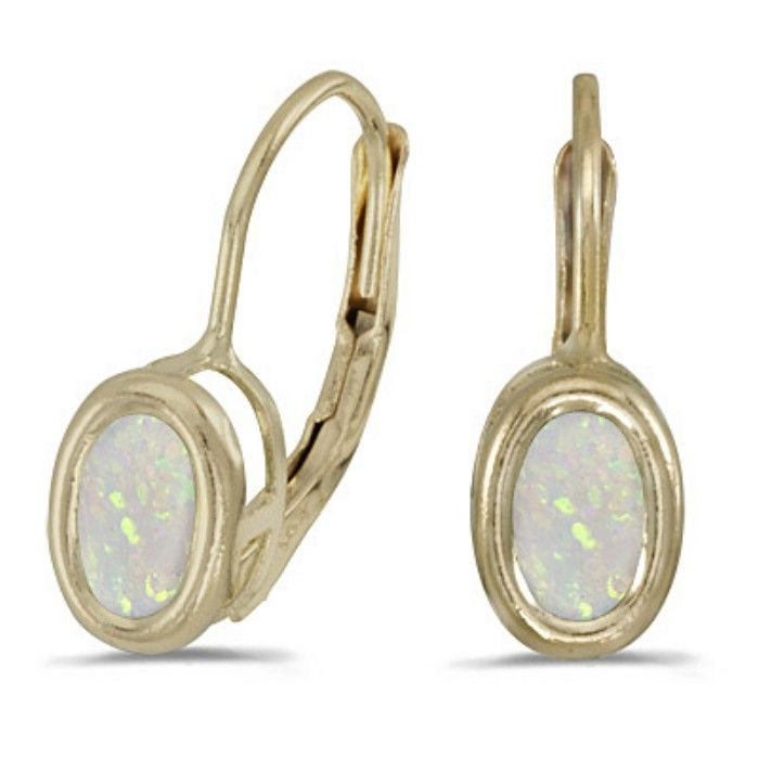 1/2ct Bezel Set Oval Opal Leverback Earrings In 14k Yellow Gold