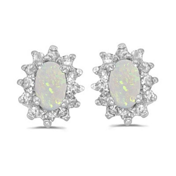 1/3ct Starburst Oval Opal And Diamond Earrings In 14k White Gold
