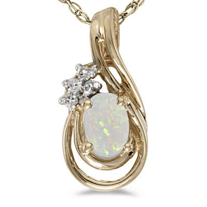 1/4ct Oval Opal And Diamond Teardrop Pendant In 14k Yellow Gold