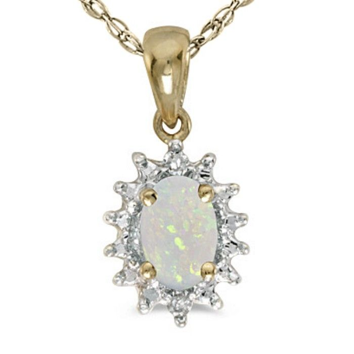 1/4ct Starburst Oval Opal And Diamond Pendant In 14k Yellow Gold
