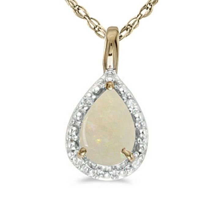 1/3ct Pear Opal Pendant In 14k Yellow Gold