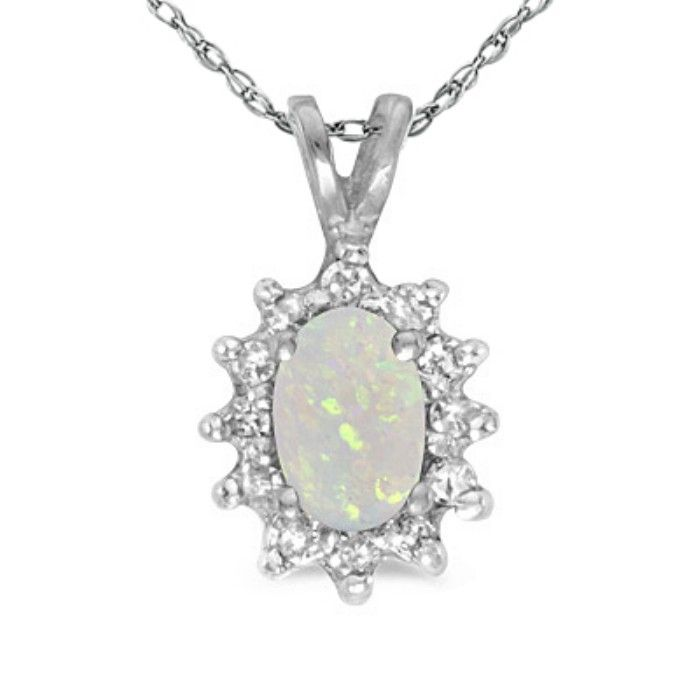 1/4ct Oval Opal And Diamond Encrusted Pendant In 14k White Gold
