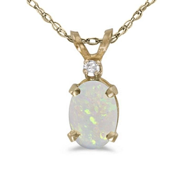 1/2ct Oval Opal And Diamond Pendant in 14k Yellow Gold