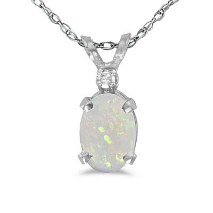 1/2ct Oval Opal And Diamond Pendant in 14k White Gold