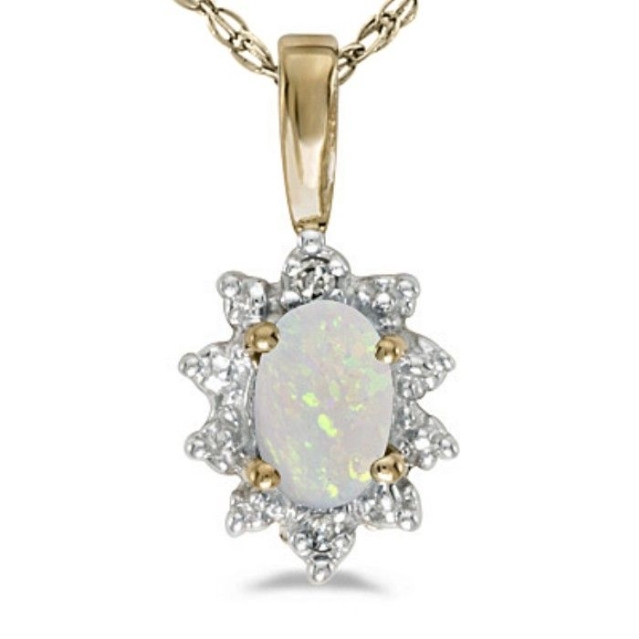 1/4ct Bold Starburst Oval Opal And Diamond Pendant In 14k Yellow Gold
