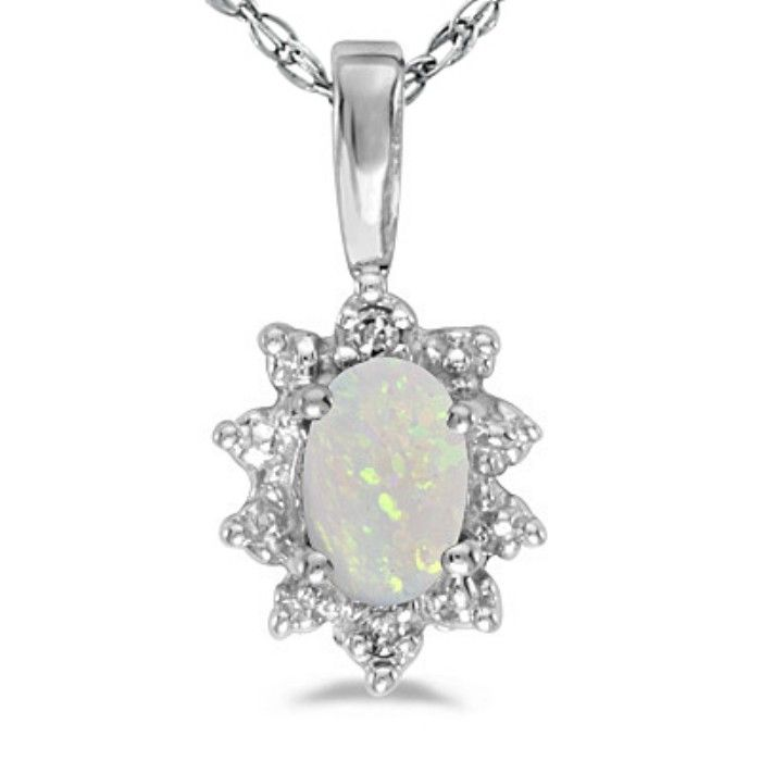 1/4ct Bold Starburst Oval Opal And Diamond Pendant in 14k White Gold