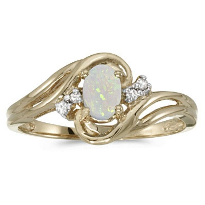 1/4ct Oval Opal And Diamond Ring In 10k Yellow Gold