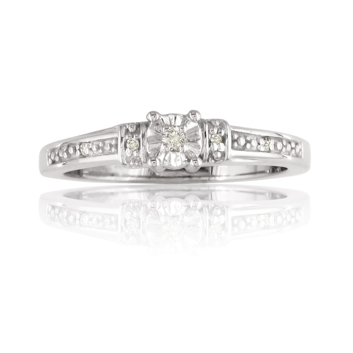 Diamond Promise Ring In Sterling Silver In Ring Sizes 4 To 9.5