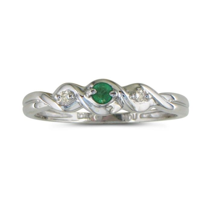 Dainty Three Stone Twist Emerald and Diamond Ring in 10k White Gold thumbnail