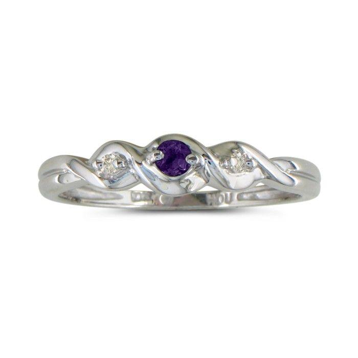 Dainty Three Stone Twist Amethyst And Diamond Ring In 10k White Gold