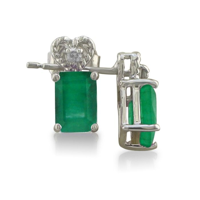 1ct Emerald and Diamond Earrings in 10k White Gold