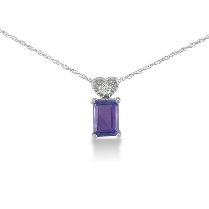 1ct Amethyst And Diamond Pendant In 10k White Gold