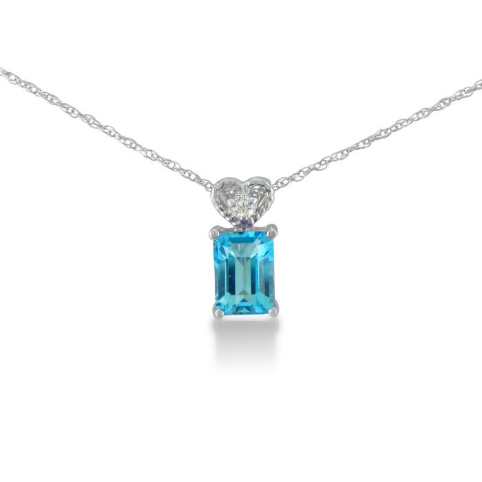 1ct Blue Topaz and Diamond Pendant in 10k White Gold