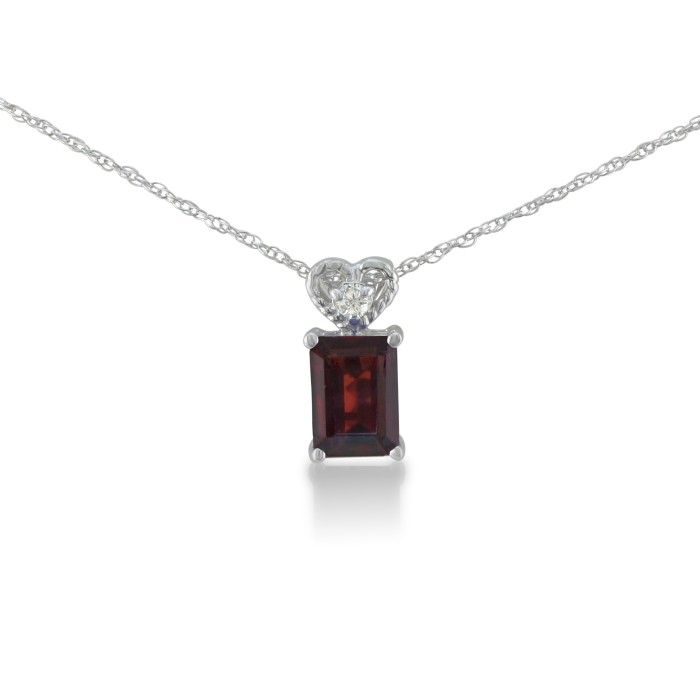 1ct Garnet And Diamond Pendant In 10k White Gold