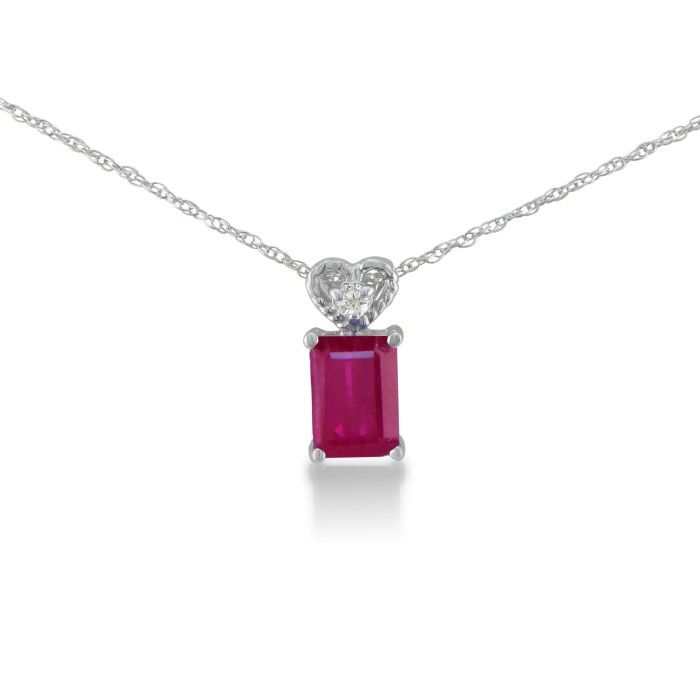 1ct Ruby and Diamond Pendant in 10k White Gold
