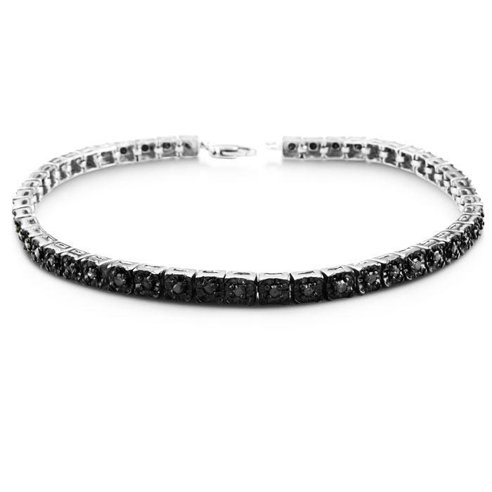 Best Black Friday jewelry- 1ct Black Diamond Tennis Bracelet in Sterling Silver