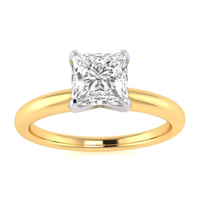 3 4ct Princess Cut Diamond Engagement Ring in 14k Yellow Gold