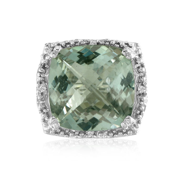 16ct Green Amethyst And Diamond Ring, Sterling Silver
