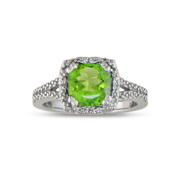 2ct Peridot And Diamond Ring In Sterling Silver