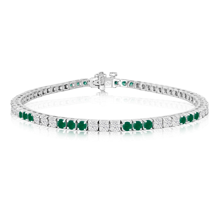 Fine quality 4.86ct Emerald and Diamond Bracelet in 14k White Gold