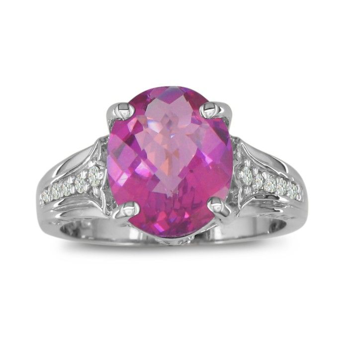 4ct Pink Topaz and Diamond Ring in 10k White Gold