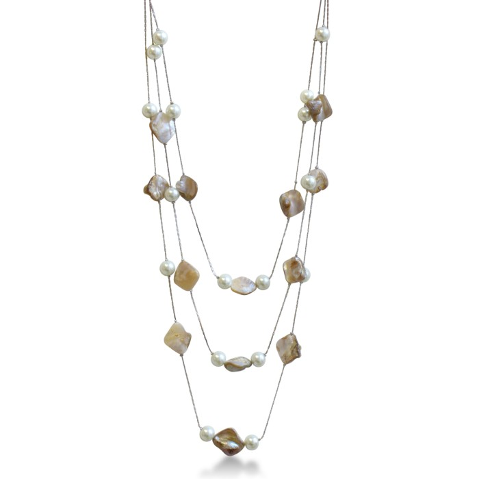 Triple Strand Pearl and Mother of Pearl Necklace