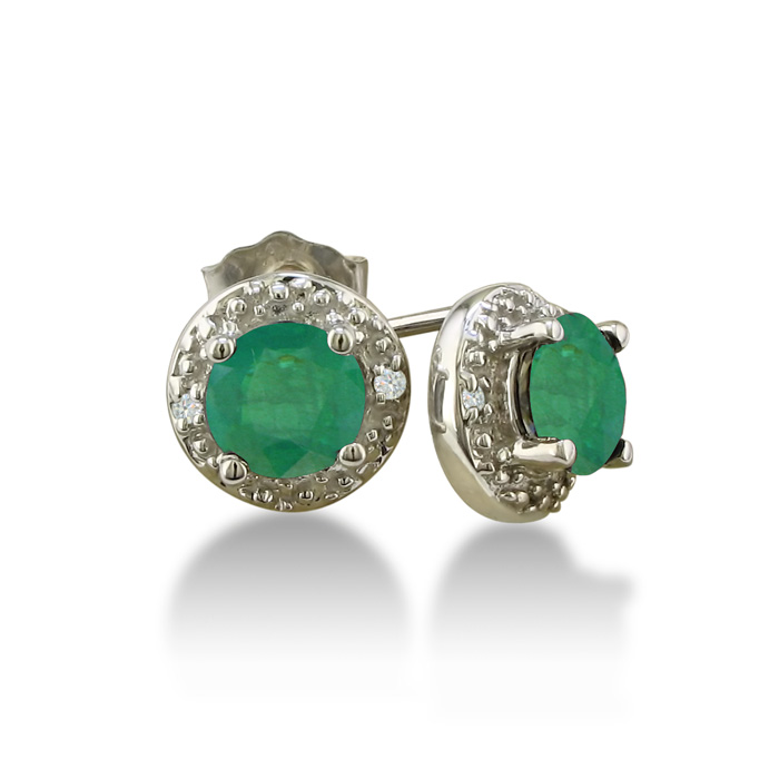 1ct Emerald Diamond Earrings, 10k White Gold