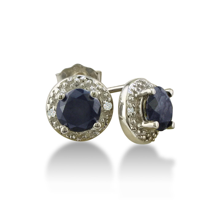 1ct Sapphire Diamond Earrings, 10k White Gold