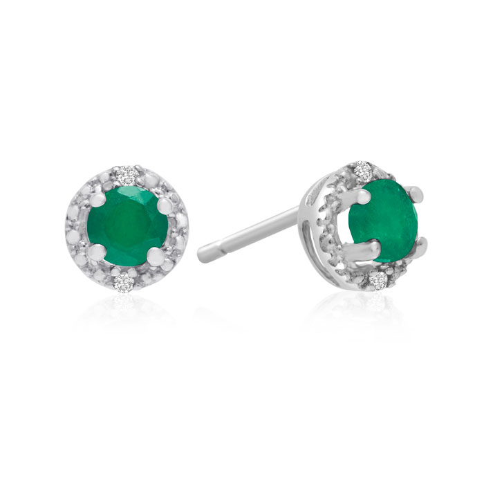1/2ct Emerald Diamond Earrings, 10k White Gold