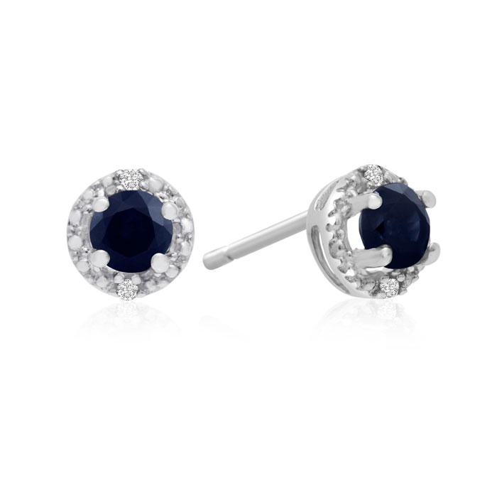 1/2ct Sapphire Diamond Earrings, 10k White Gold