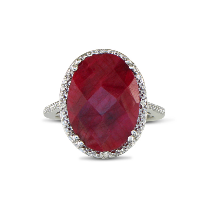 11ct Rough Cut Ruby And Diamond Ring In Sterling Silver