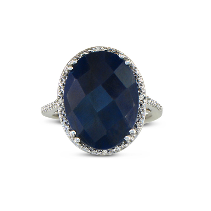 11ct Rough-cut Sapphire And Diamond Ring In Sterling Silver