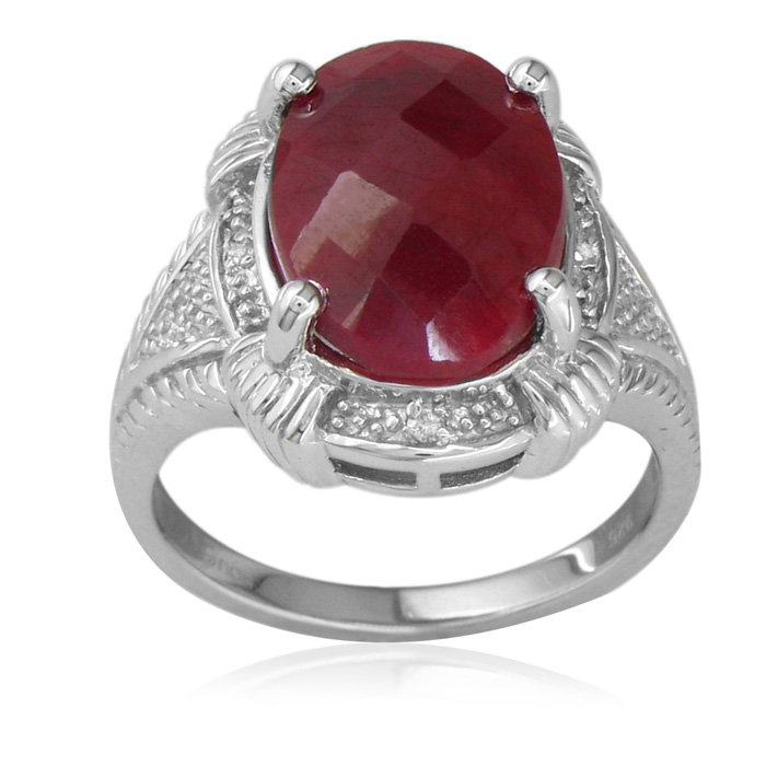 7ct Rough Cut Ruby And Diamond Ring In Sterling Silver