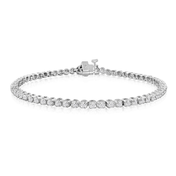 9 Inch, 2 1/2ct Round Based Diamond Tennis Bracelet in 14k White Gold