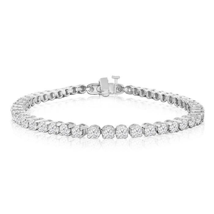 8 Inch, 5 3/4ct Round Based Diamond Tennis Bracelet in 14k White Gold