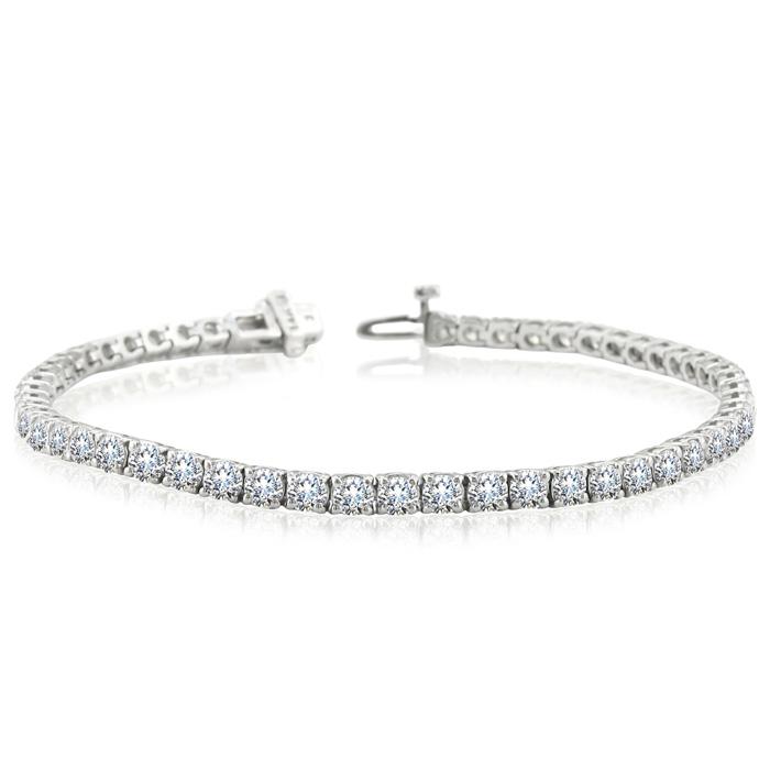 8 Carat Diamond Round Setting Tennis Bracelet in 14 Karat White Gold