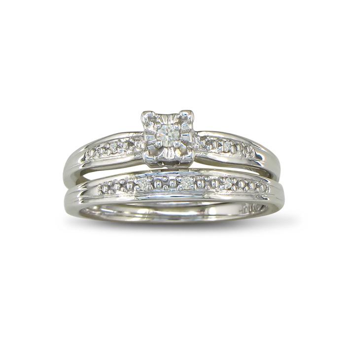 Simple Diamond Bridal Set In Sterling Silver
