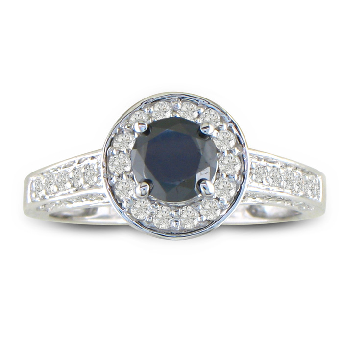 1ct Micropave Black Diamond Engagement Ring in 14k White Gold