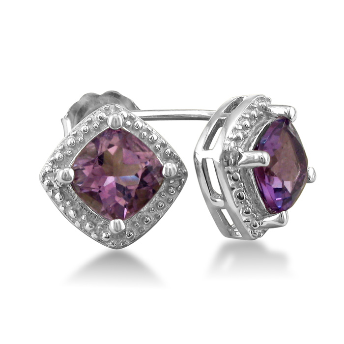 Cushion Cut 2ct Amethyst and Diamond Earrings