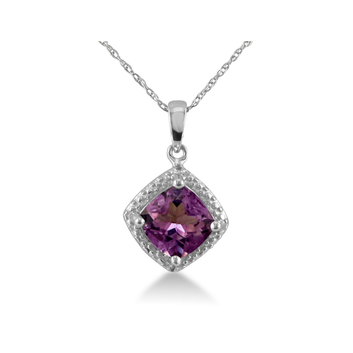 Cushion Cut 1 1/2ct Amethyst and Diamond in Sterling Silver Pendant