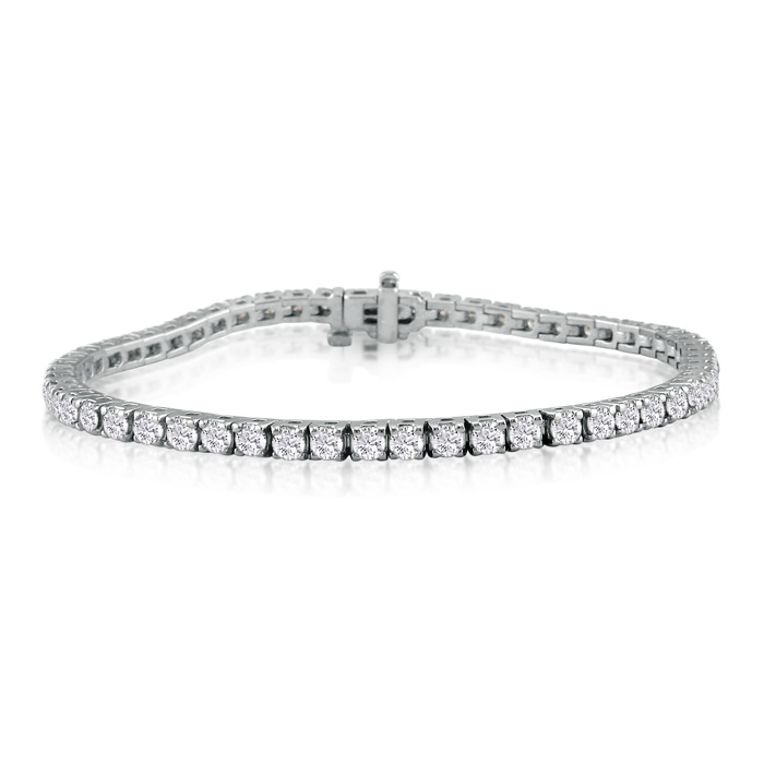 6 Inch 4.30ct Diamond Tennis Bracelet in 14k White Gold, J/K I1/I2
