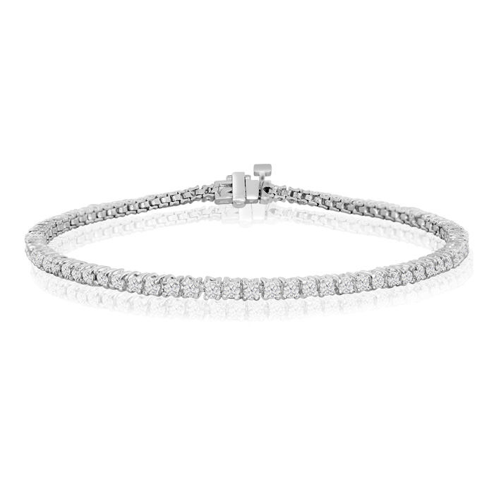 8.5 Inch 2.42ct Round Setting Diamond Tennis Bracelet in White Gold