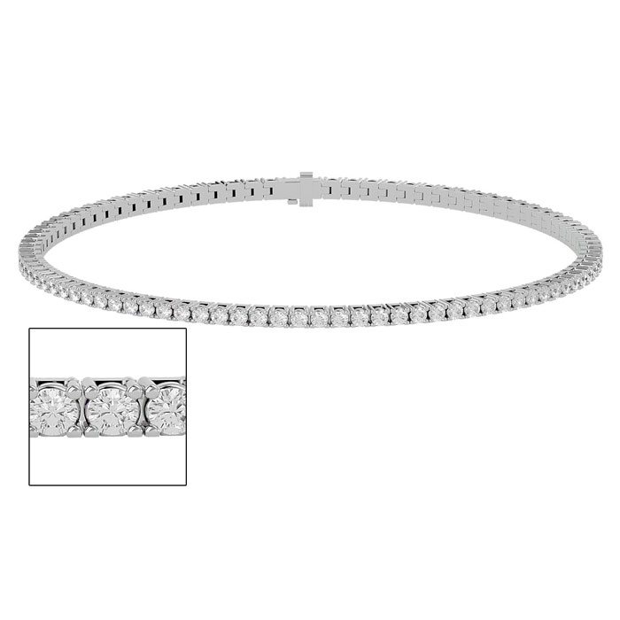 9 Inch 2.57ct Round Setting Diamond Tennis Bracelet in White Gold