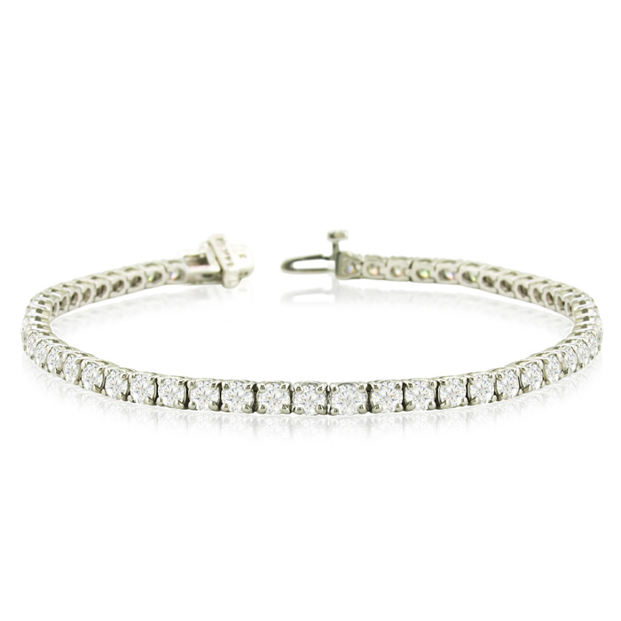 8 Carat Diamond Round Setting Tennis Bracelet in White Gold, 8 Inch