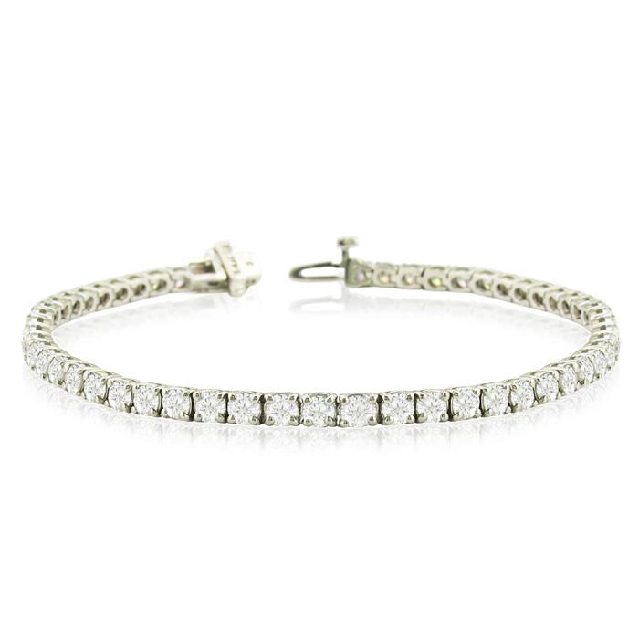 8 Carat Diamond Round Setting Tennis Bracelet in White Gold, 8.5 Inch
