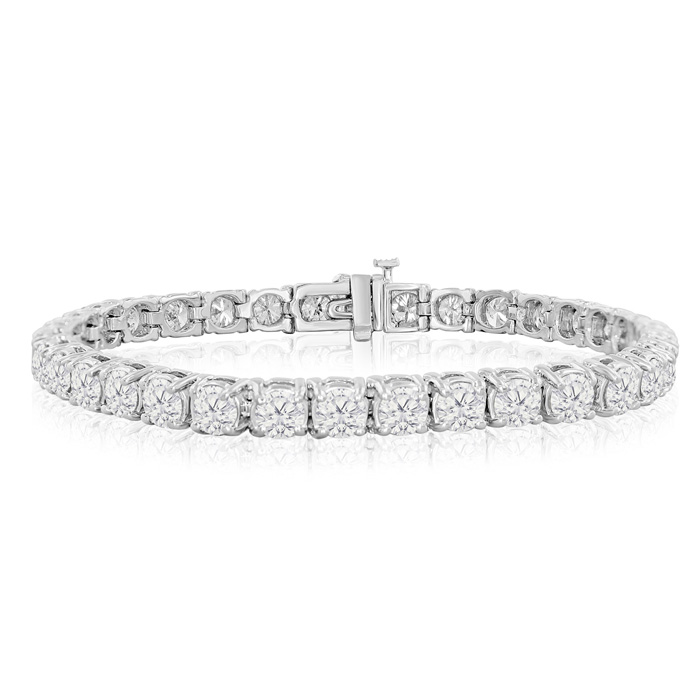 8 Inch, 10.30ct Diamond Tennis Bracelet in White Gold